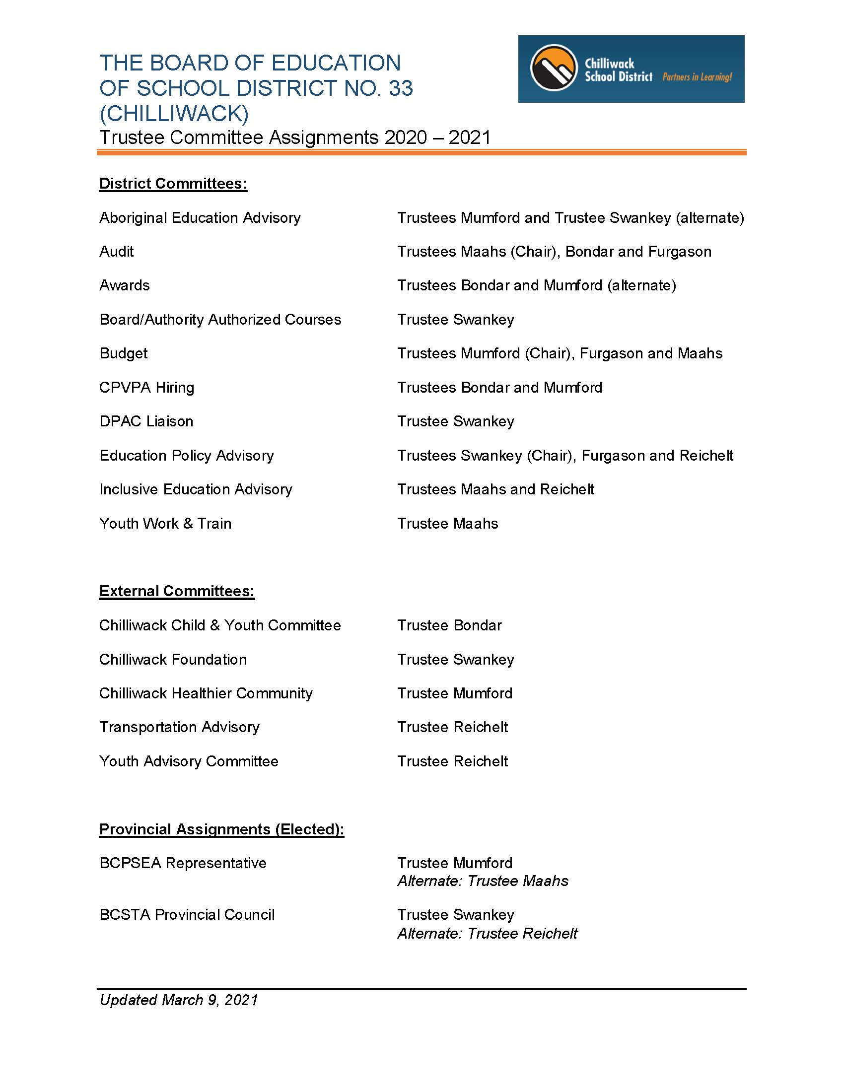 Trustee Committee Assignments